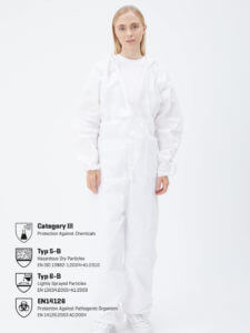 Protective suit single use with adhesive tape